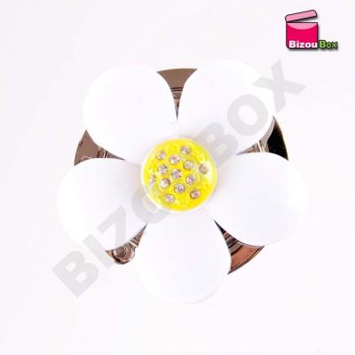 """Accroche sac fleur """"Marguerite"""" Blanc"""