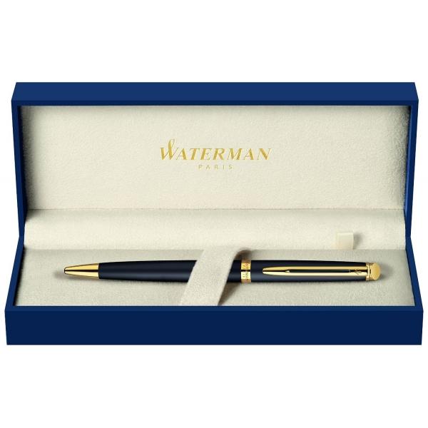 Waterman Hémisphère stylo à bille noir mat, attributs dorée