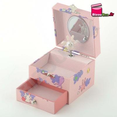 """Boîte musique Trousselier Cube """"Robot"""" Rose S 20606"""